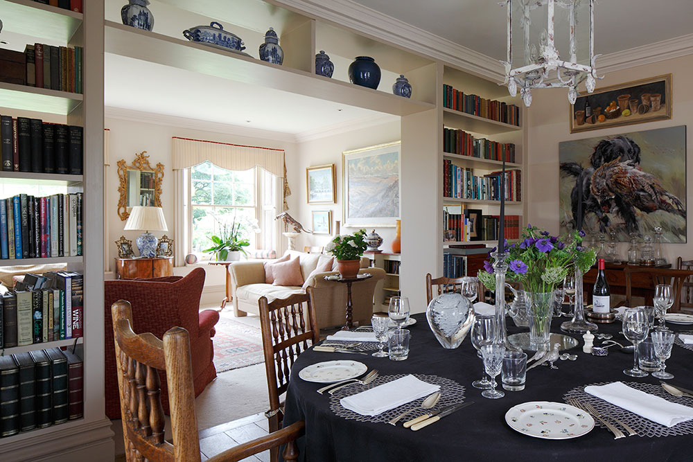 Unusual black table-cloth which worked beautifully. From a shoot in Wiltshire for The English Home